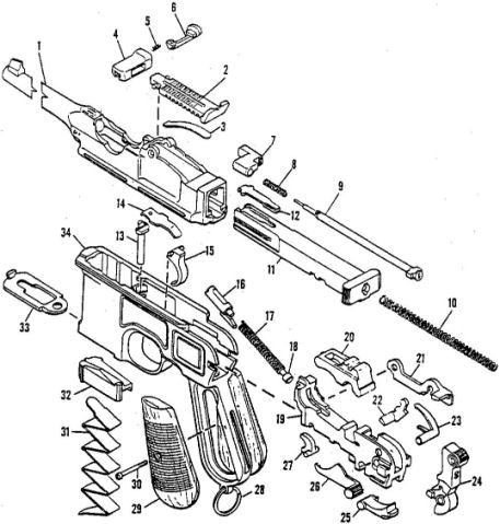 BROOMHANDLE MAUSER C96 PISTOL PARTS.Ref. #F3b